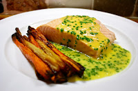 Sous Vide salmon and hollandaise with roasted roots