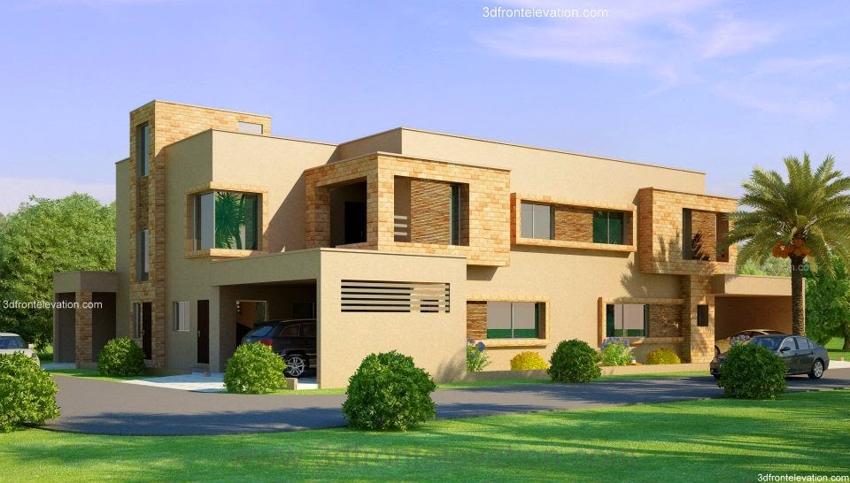 Front Elevation Of Houses In Lahore : D front elevation kanal corner plot house