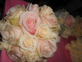 bride's bouquet of ivory and light pink roses at monaleen church and adare manor