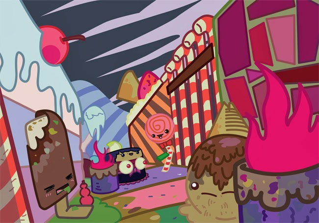 in the slums of candyland kawaii illustration