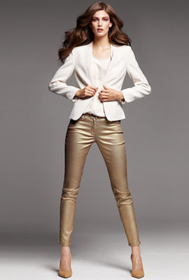 H&M pantalones mujer dorados