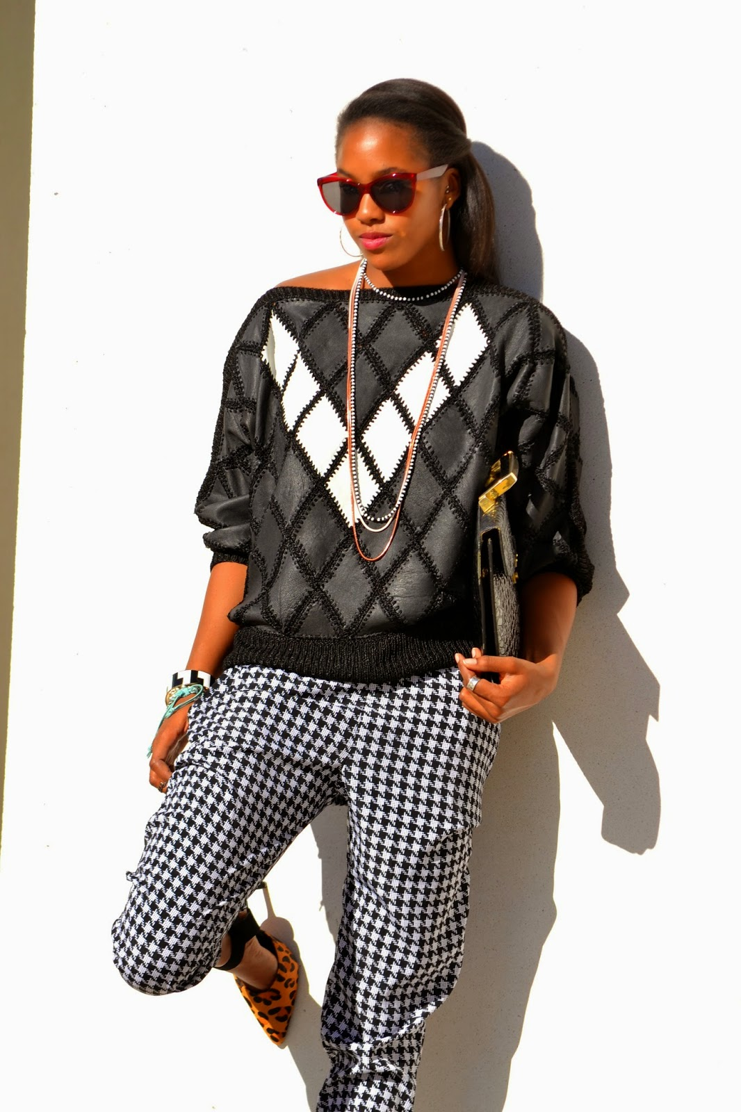 Marquise C Brown fashion style blogger , Leather Patchwork