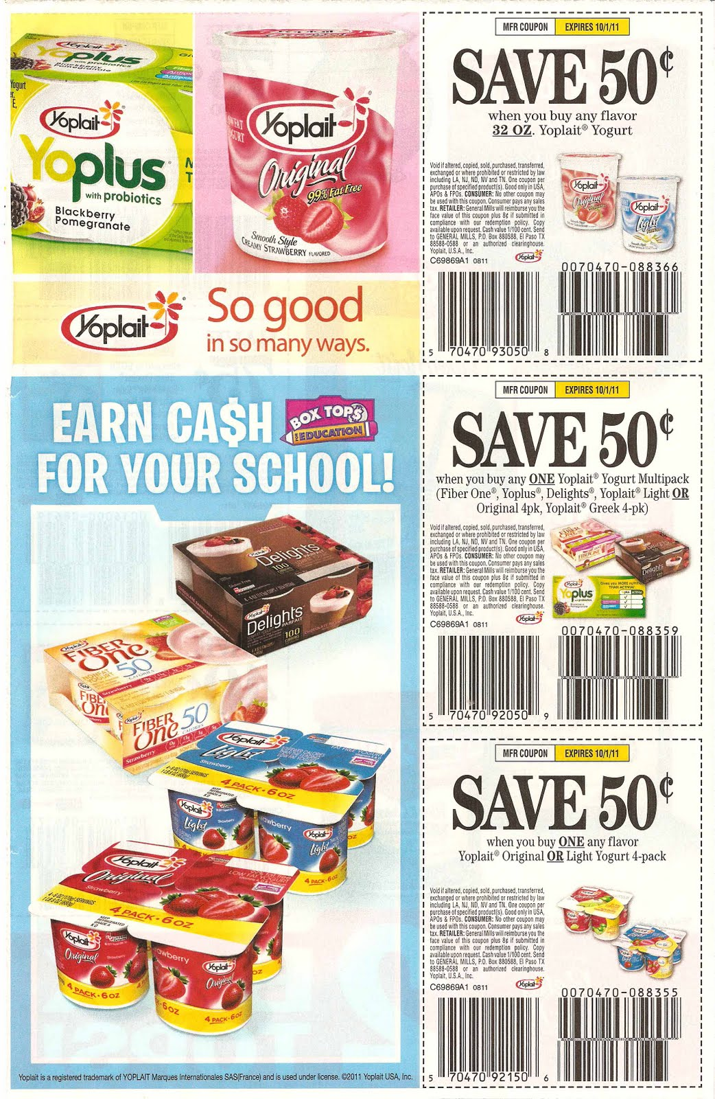 Yoplait printable coupons