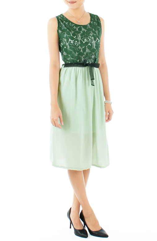 Pine Green Secret Garden Lace Dress with Chiffon Skirt