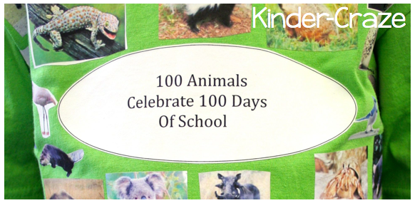 100th day of school t-shirt idea with animal photos