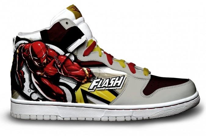 flash nike dunks super heroman dc comic shoes colorful nikes