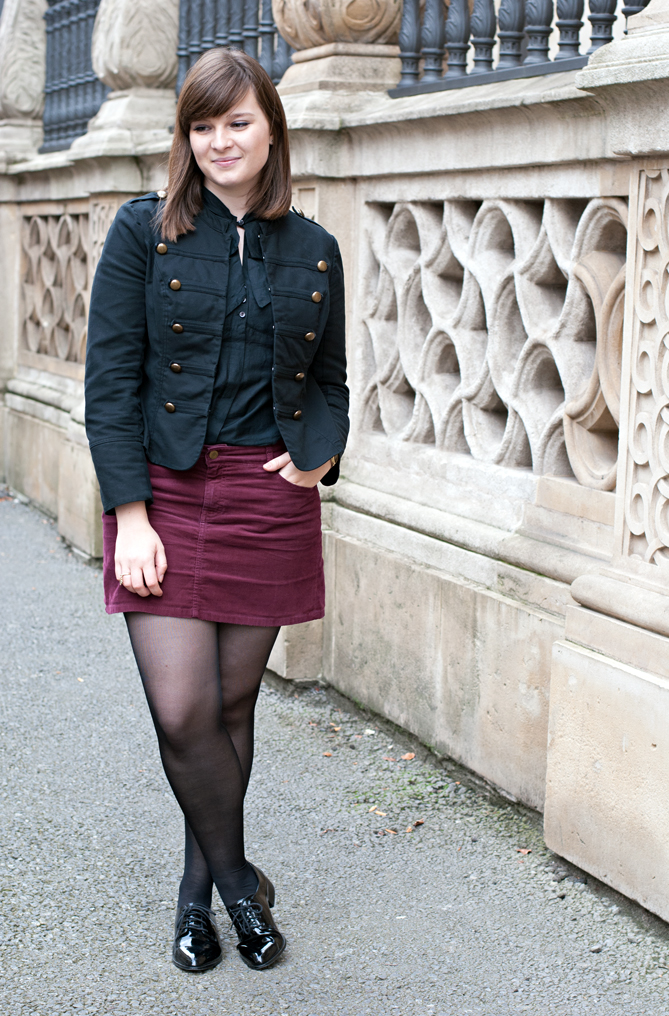 military blazer red velvet skirt