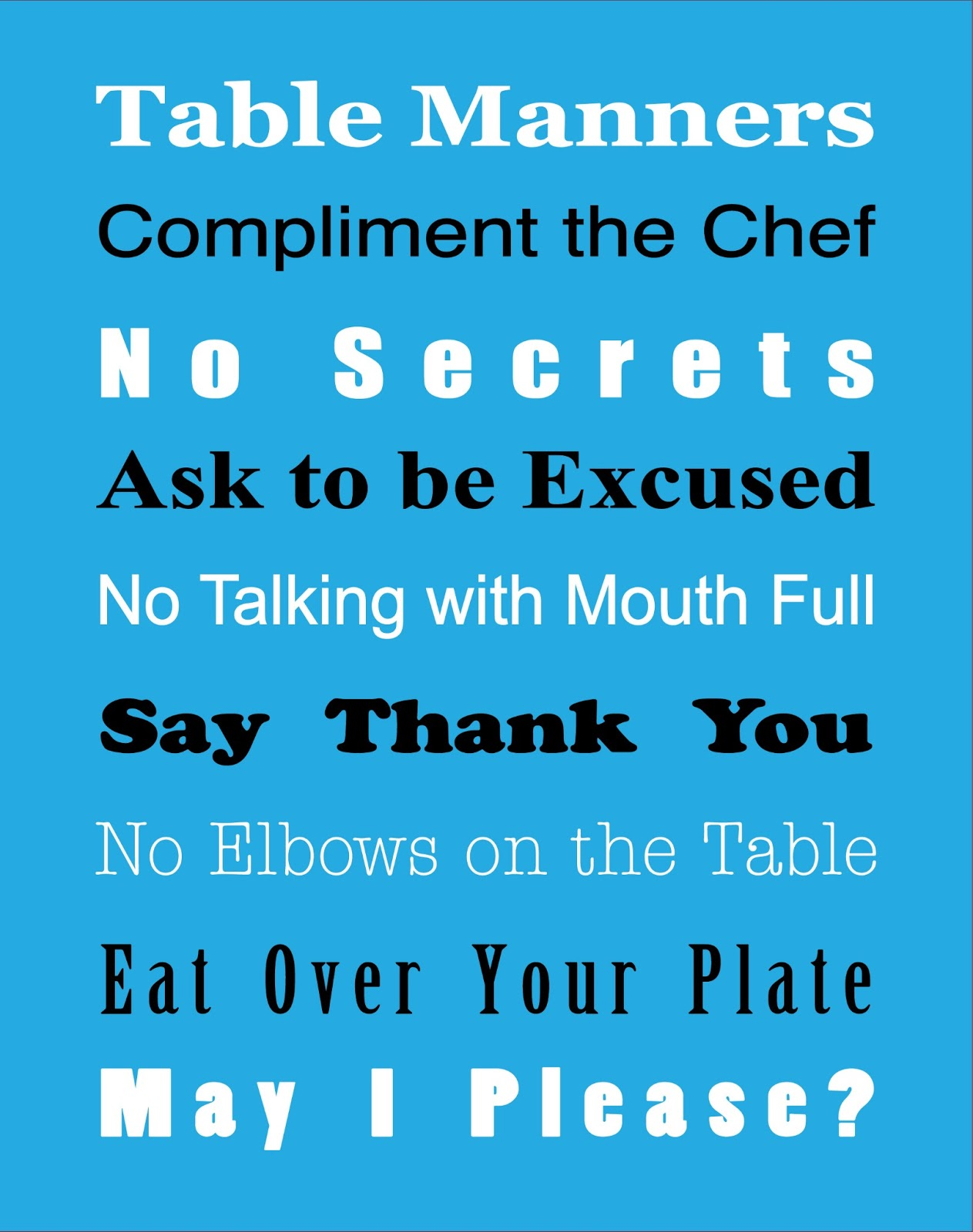 Basic table manners free printable true aim for Table etiquette