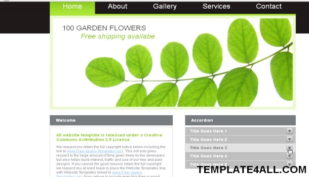 Green White Nature Jquery Website Template