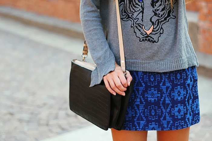 zara bag, grey, blue skirt, tiger sweater, casual