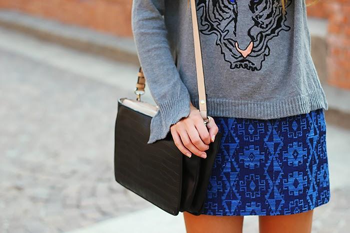 zara bag, grey, blue skirt, tiger sweater, casual