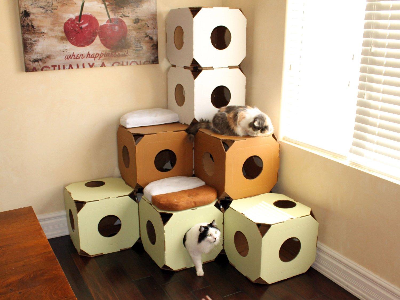 Как сделать домик для кошки из 1 коробки