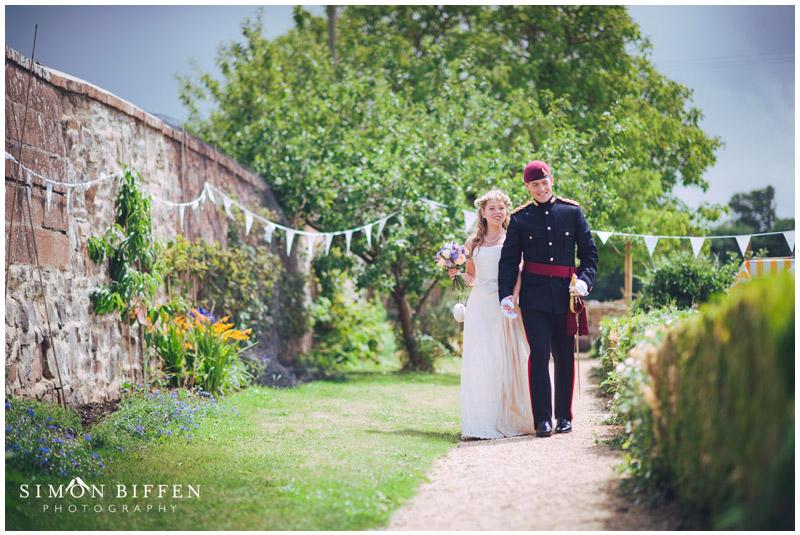 Roughmoor farm wedding  bride and groom