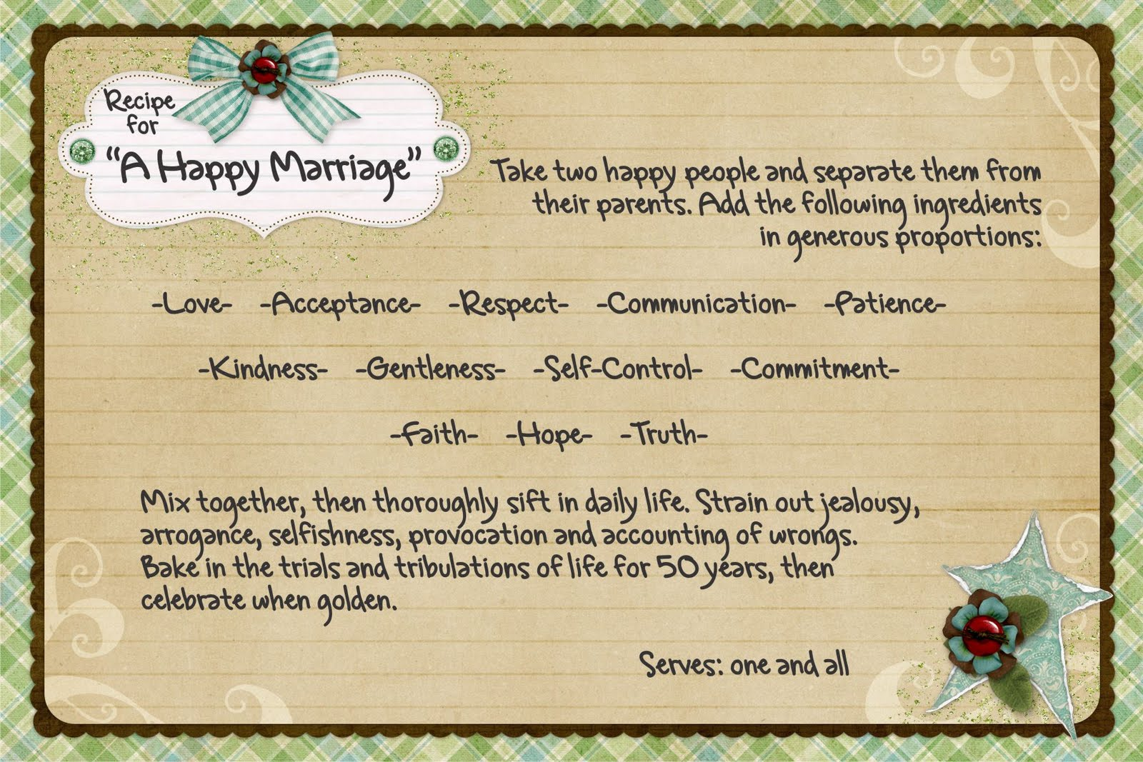 It's just a graphic of Dynamic Recipe for a Happy Marriage Printable