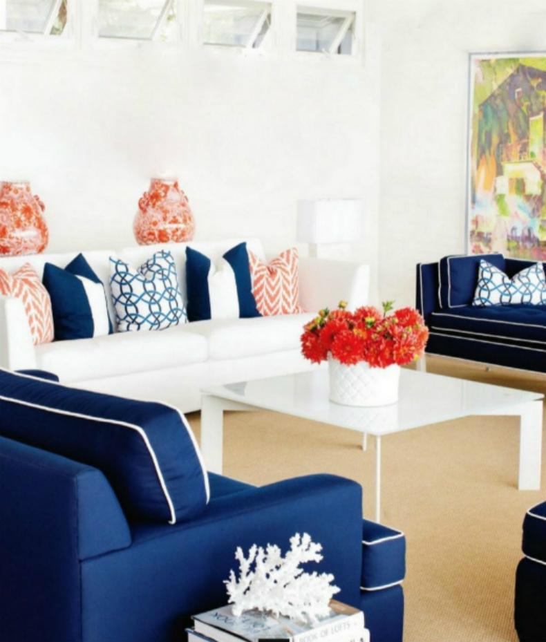 Coastal home inspirations on the horizon coastal living rooms - Orange and blue living room ...