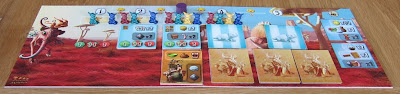 Dungeon Petz - The progress board as it might be setup at the end of turn 2