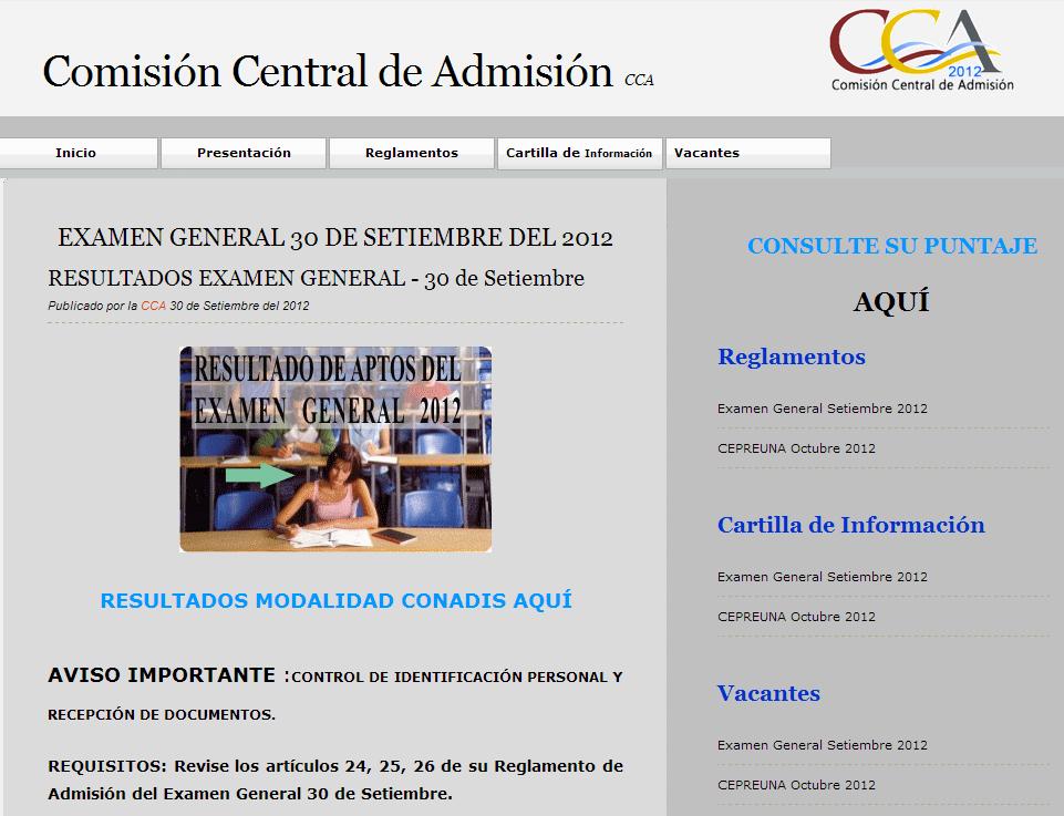Resultados UNAP 2012 II UNA Puno Ingresantes 16 de Setiembre