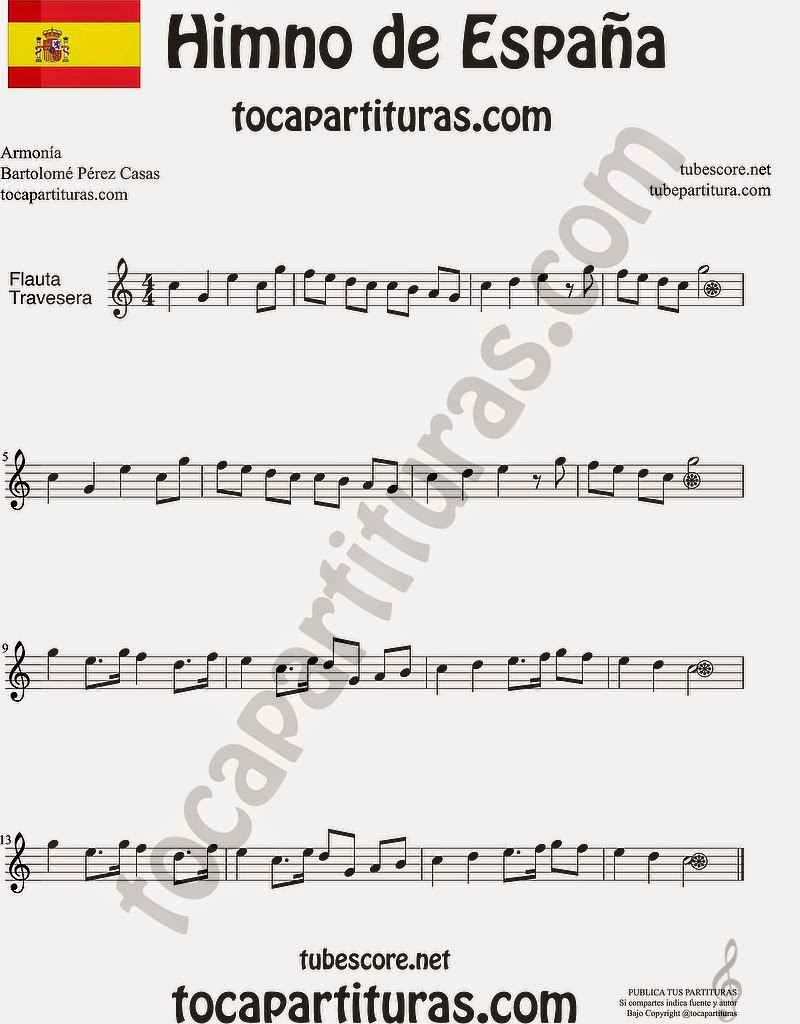 Himno Nacional Español Partitura de Flauta Travesera, flauta dulce y flauta de pico Himno de España Spanish National Anthem Sheet Music for Flute and Recorder Music Scores