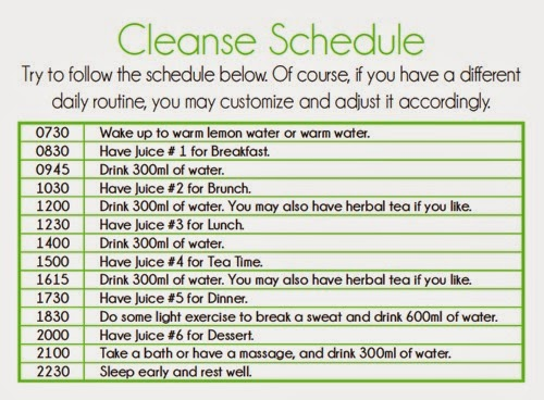 La Juiceria Cleanse Schedule, La Juiceria Cleanse Program, detox program, juice detox, juice diet, juice fasting