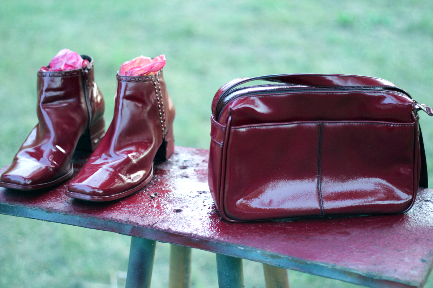 trick oxblood upcycle re purposing thrifted handbag and shoes. Black Bedroom Furniture Sets. Home Design Ideas