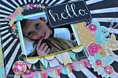 Hello scrapbook page featuring the You're Invited collection by BoBunny designed by Rhonda Van Ginkel