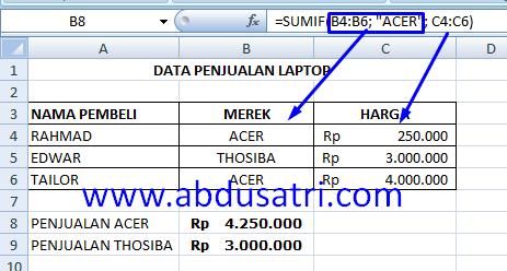 contoh fungsi SUMIF di Excel