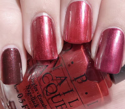 Dark Red comparison - Royal Rajah Ruby, Thunderbird, I'm Not Really A Waitress, Swing Velvet