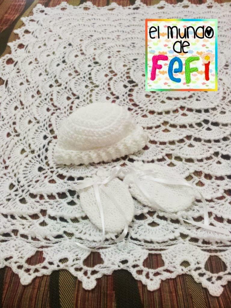 El mundo de Fefi: Mantilla, gorro y manoplas para bebé tejidos al ...