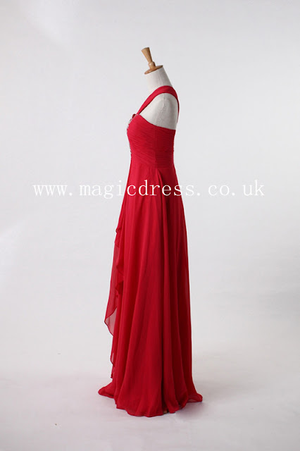 red one shoulder long dresses