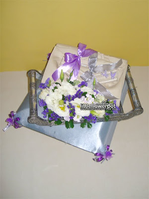 blue silver wedding flowers