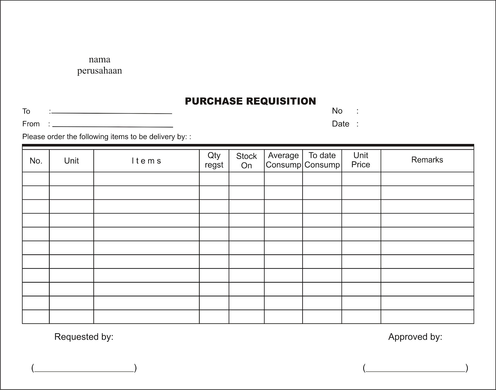 Purchase Order Request Form Templates invites template – Purchase Requisition Letter