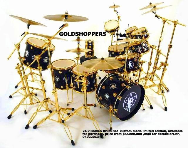 24 k Golden Drum Set price from $55000,00 | GOLDSHOPPERS