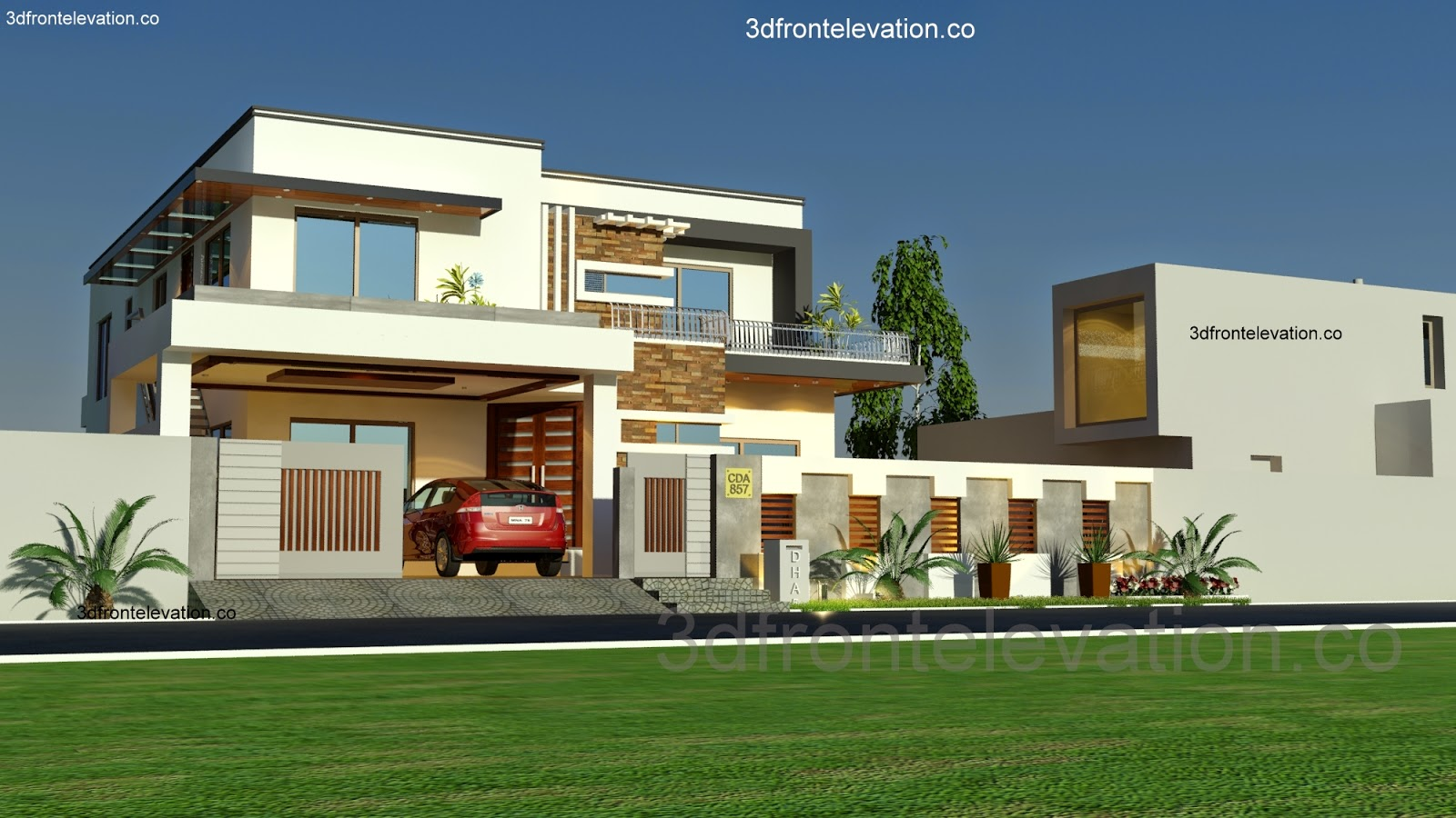 3d front 1 kanal house plan layout 50 39 x 90 for 90s modern house