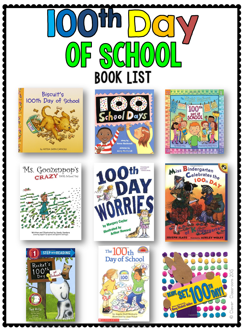 100th Day of school book list and a freebie