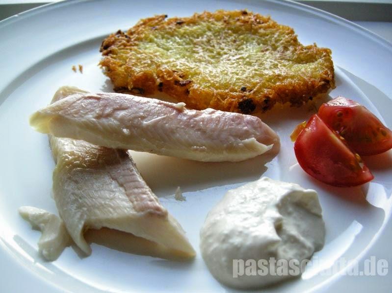 Forelle, Reibekuchen, Meerettichcreme, Tomate