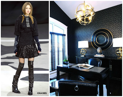 chanel brought into emebellished black office interiors