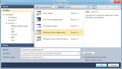 of Visual C++ CLR , Windows Forms Application to to create application ...