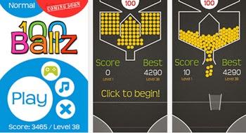 Consigue atrapar todas las bolas e colores jugando 100 Ballz