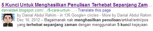 Bagaimana nak memaparkan gambar dalam carian - Google authorship