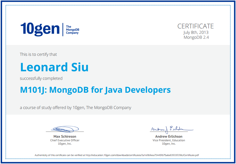 Self Professed Nerd Got My M101j Mongodb For Java Developers
