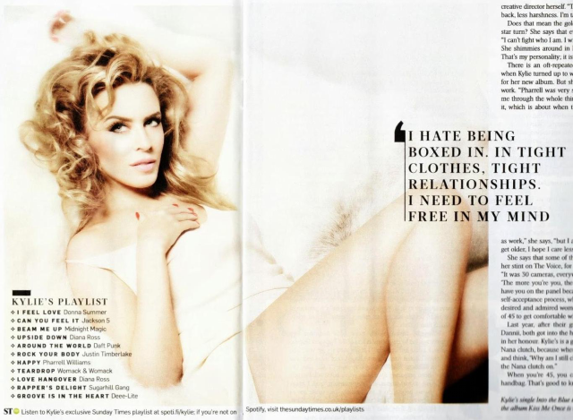 Kylie Minogue en the Sunday Times Style febrero 2014