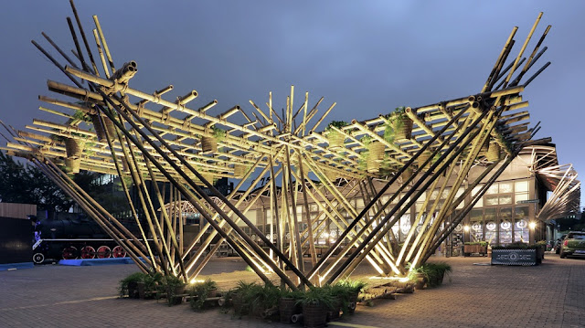 Penda's Rising Canes Pavilion promotes bamboo-based construction