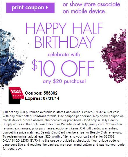 Sally's $10 July Coupon