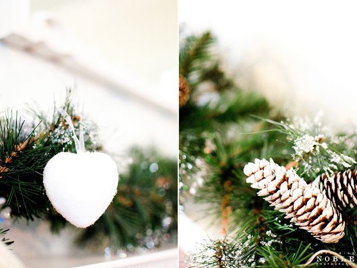 christmas fireplace swag heart decorations pinecones