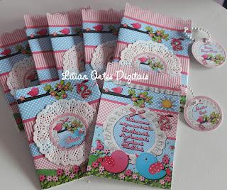 Convites infantis de passarinho azul e rosa