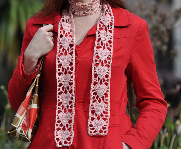 SRM Stickers Blog - Crocheted Heart Scarf by Ann - #crochet #twine #scarf #pink #red #Valentine
