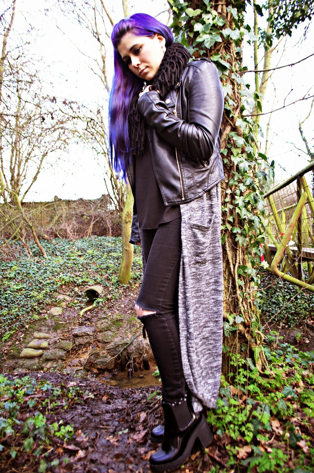 Grunge OOTD featuring Primark, Public Desire, Asos, River Island and Rebel Ocean Jewellery. Purple hair inspo.