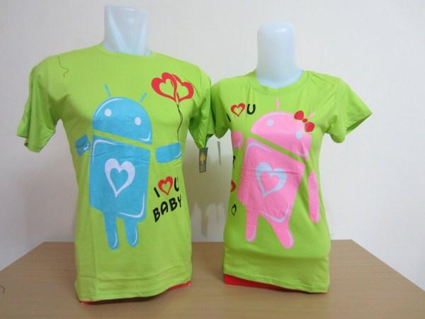 contoh kaos couple android hijau cantik
