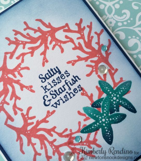 Tranquil Tides card by Kimberly Rendino for Newton's Nook Designs | starfish | coral