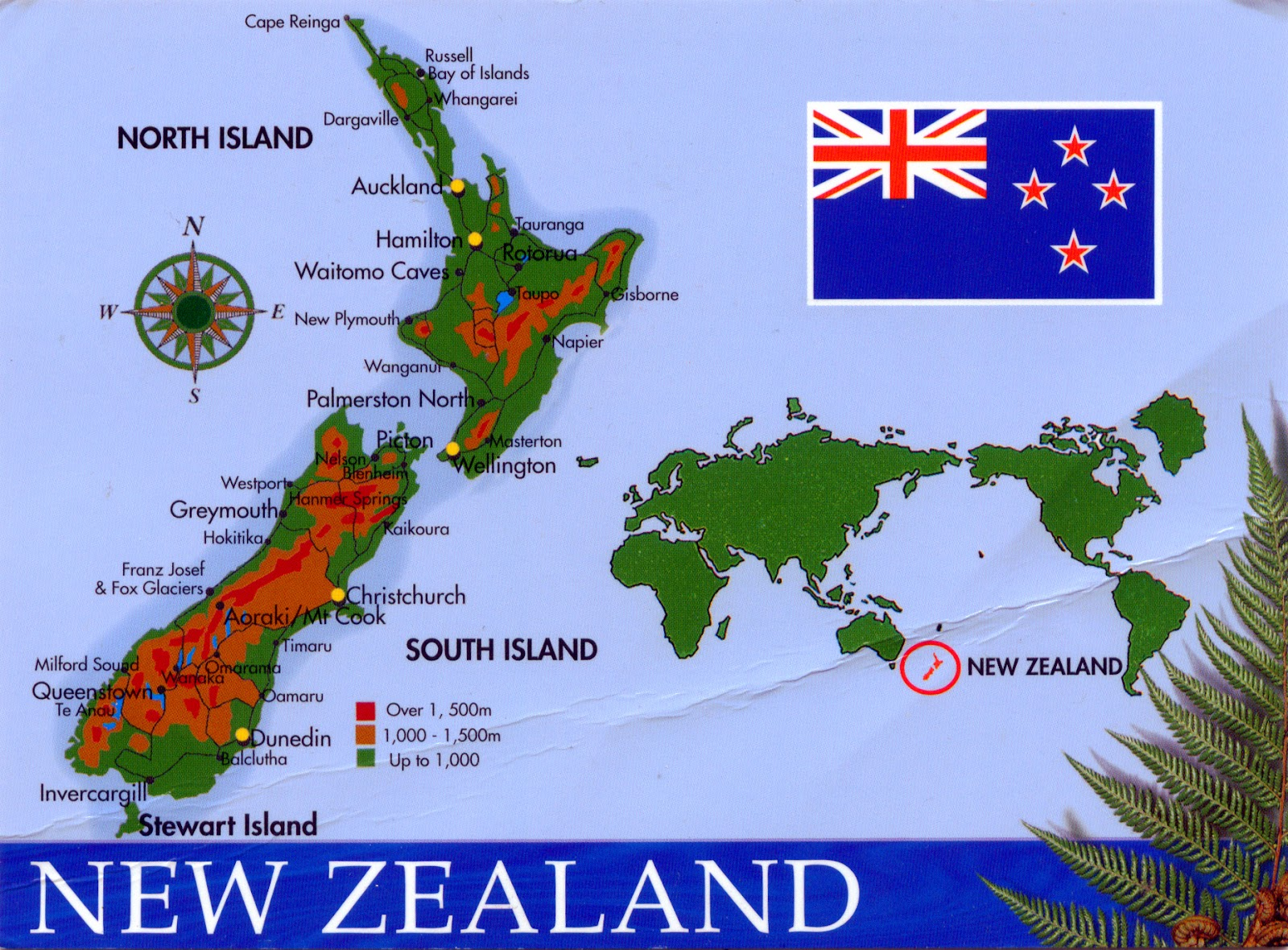 World Come To My Home 0975 New Zealand The Map And The Flag Of
